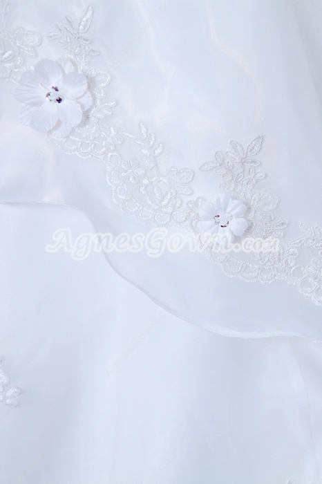 Classic Organza Celebrity Wedding Dress With 3d Flowers