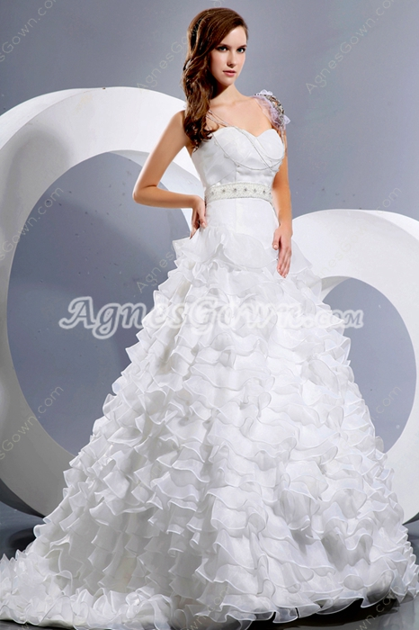 Complicated White Organza Multi-Tiered Wedding Dress 2016
