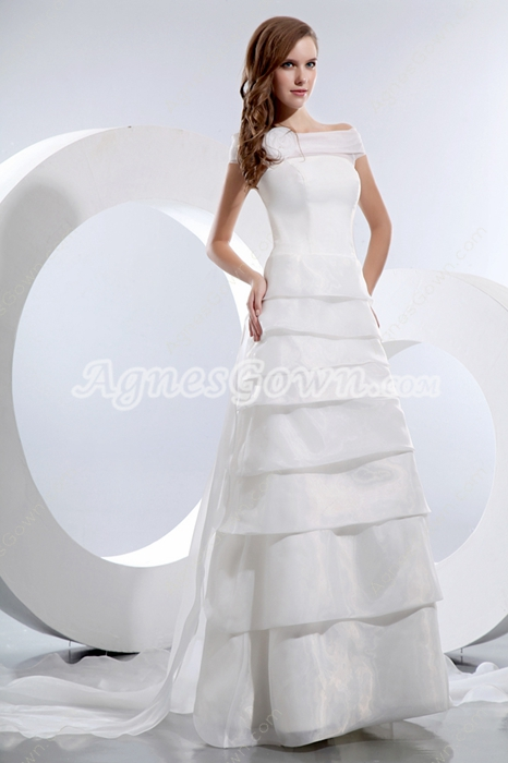 Off The Shoulder Organza Tiered Wedding Dress