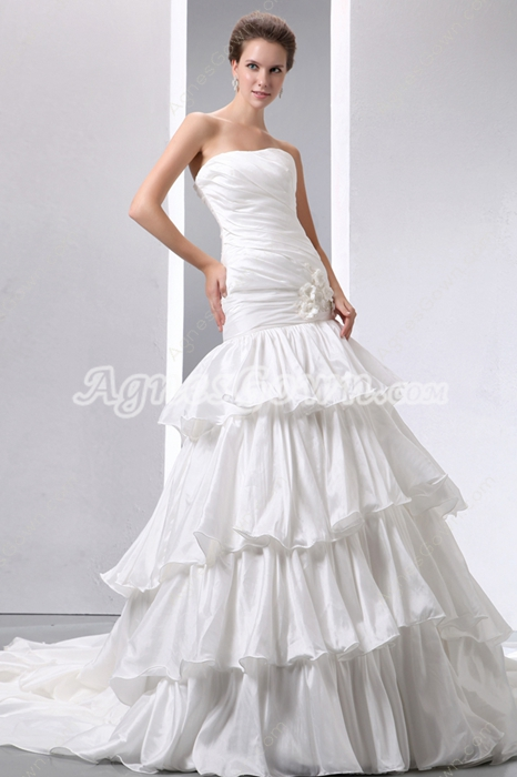 Dropped Waist Wedding Dress 4 Tiered