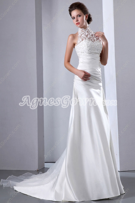 Noble Halter Ivory Satin Beach Wedding Gown