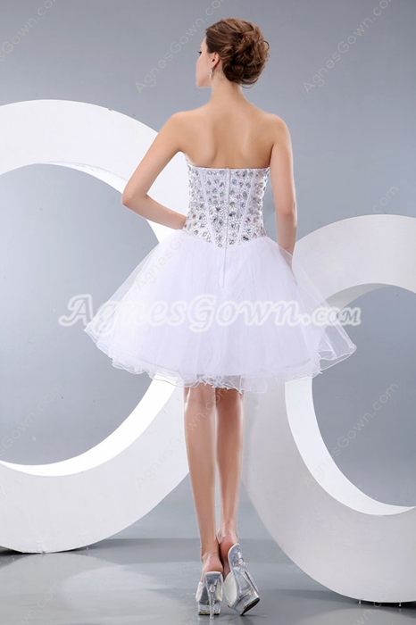 Tutu Mini Length White Sweet 16 Dress With Rhinestones