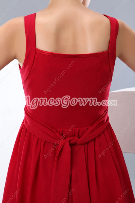 Modern Low-Cut Neckline Straps Red Chiffon Short Graduation Dress