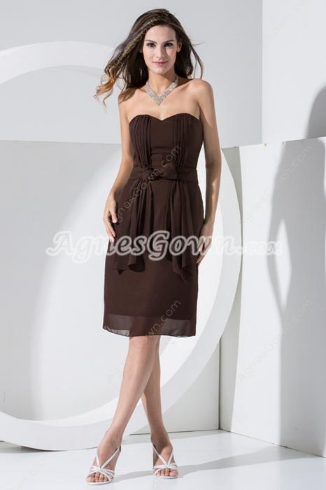 Modest Knee Length Chocolate Chiffon Wedding Guest Dress