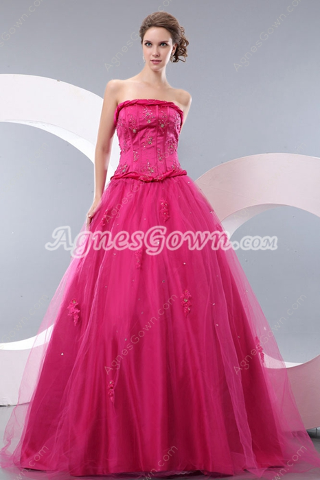 Fantastic Strapless Ball Gown Fuchsia Quinceanera Dress Corset Back