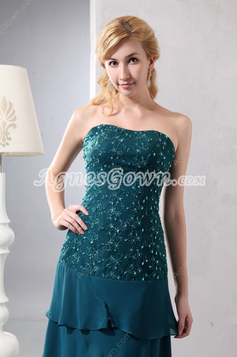 Column Full Length Teal Colored Mother Of The Bride Dress