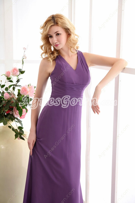 Graceful V-neckline Regency Chiffon Mother Dress