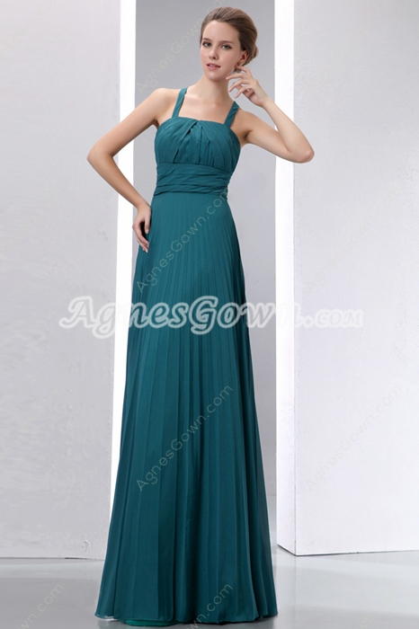 Exquisite Straps Column Full Length Teal Colored Prom Dress