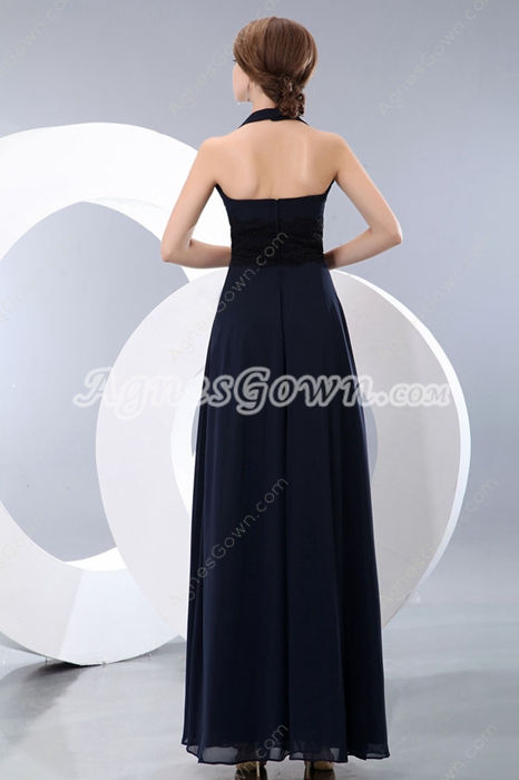 Elegance Top Halter Dark Navy Evening Dress