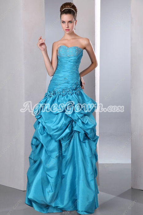 New Faddish Blue Taffeta Princess Sweet 15 Dress