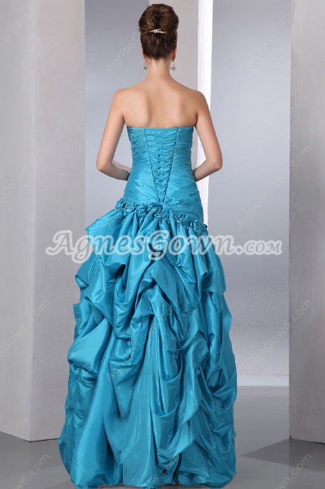 New Faddish Blue Taffeta Princess Sweet 15 Dress
