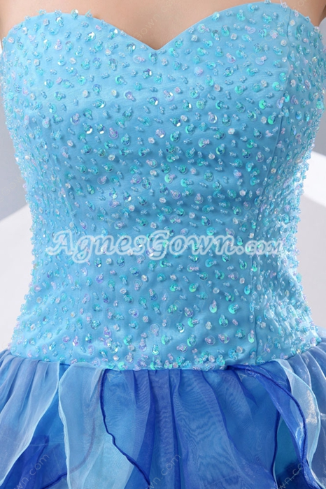 Colorful Sweetheart Rainbow Sweet Sixteen Dress With Exquisite Beads