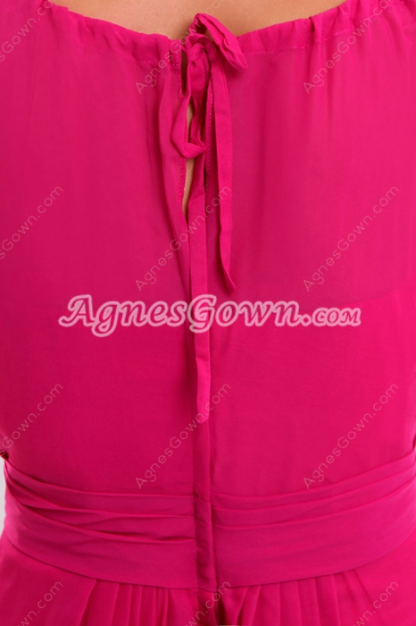 Pretty Jewel Neckline Fuchsia High School Graduation Dress