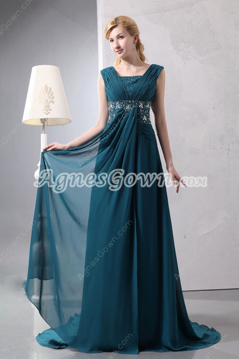 Beautiful A-line Teal Chiffon Formal Evening Dress With Beads