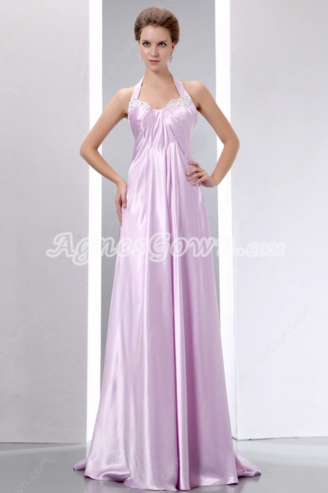 Pretty Halter Lilac Satin Evening Dress