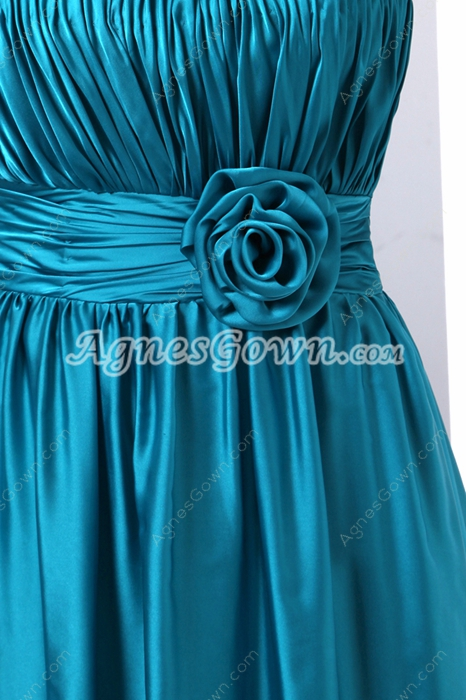 Turquoise Graduation Dress With Handmade Flowers