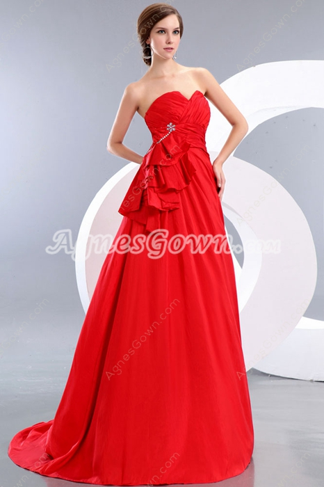 Fantastic A-line Red Satin Prom Party Dress Corset Back