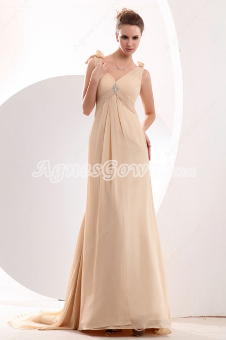 Exclusive V-Neckline Full Length Champagne Formal Evening Dress
