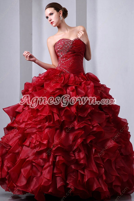 Gothic Organza Dark Red Sweet Fifteen Dress