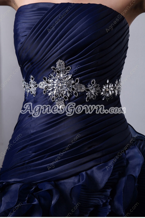 Unique 2016 Dark Navy Organza Sweet 15 Dress