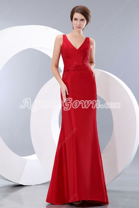 V-Neckline A-line Red Formal Evening Gown