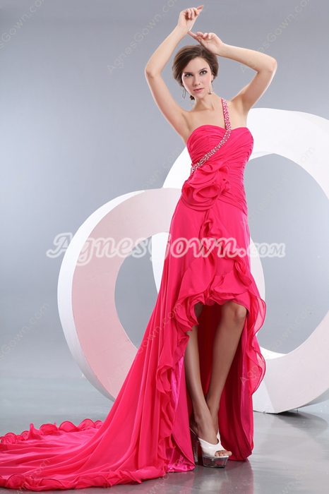 Lovely Single Straps Hot Pink High Low Party Dress