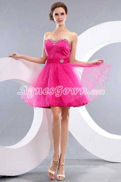 Lovely Sweetheart Puffy Mini Length Fuchsia Sweet Sixteen Dress