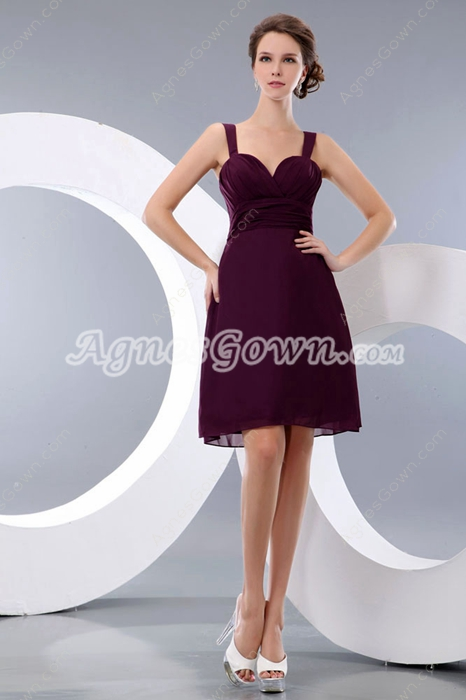 Modest Mini Length Grape Colored Wedding Guest Dress
