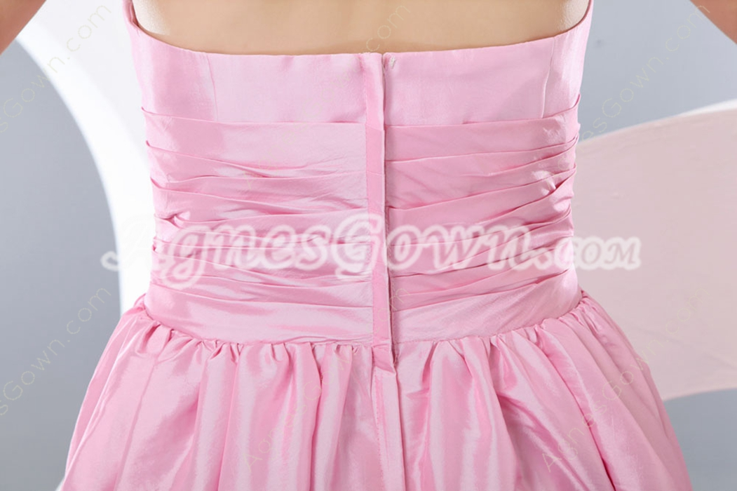 sweet Halter Tea Length Pink Junior Prom Dress