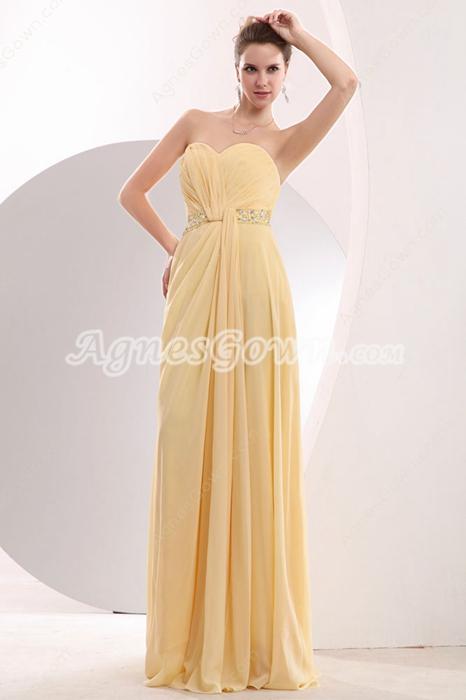 Lovely Sweetheart Daffodil Yellow Chiffon College Graduation Dress