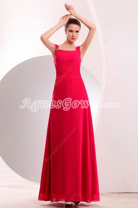 Double Straps Full Length Hot Pink Prom Dress