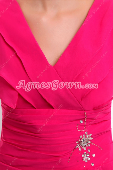 Cap Sleeves Ankle Length Fuchsia Chiffon Prom Dress