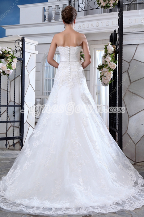 Luxurious Jeweled Lace Wedding Dress With Satin Band