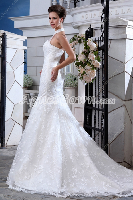 Fairytale Halter Mermaid/Fishtail Lace Wedding Gown