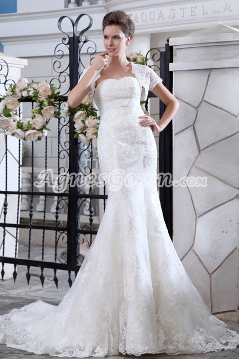 Brilliant Sheath Lace Wedding Dress With Bolero