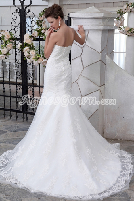 Fit-And-Flare Mermaid Lace Wedding Dress With Jeweled
