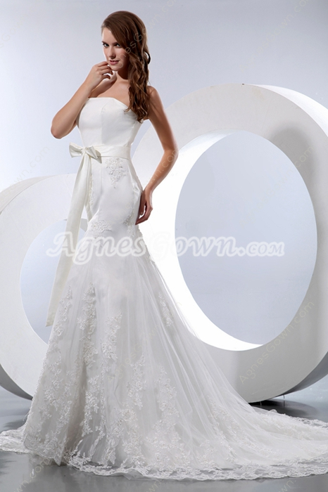 Fit-And-Flare Ivory Lace Wedding Dress With Satin Band