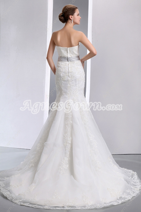 Exclusive Ivory Lace Wedding Dress With Silver Sash