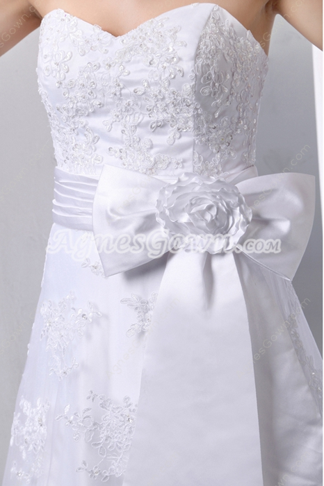Beautiful Princess Lace Wedding Dress With Satin Sash