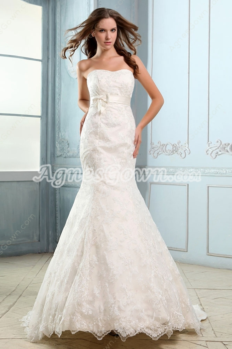 Retro Trumpet/Mermaid Lace Bridal Dress With Satin Belt