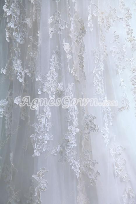 Fantastic Straps Princess Lace Wedding Gown