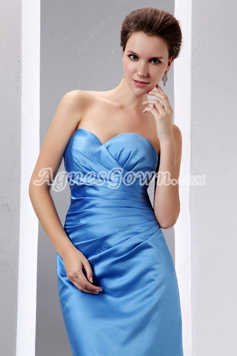 Simple Satin Turquoise Bridesmaid Dress