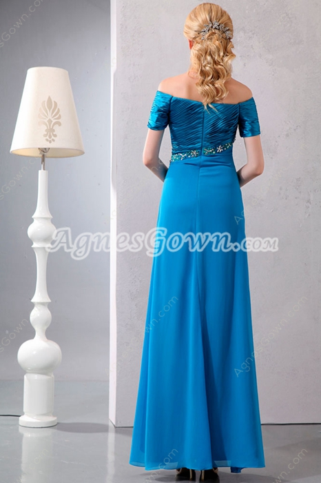 off The Shoulder Ankle Length Turquoise Mother Of The Bride Dress