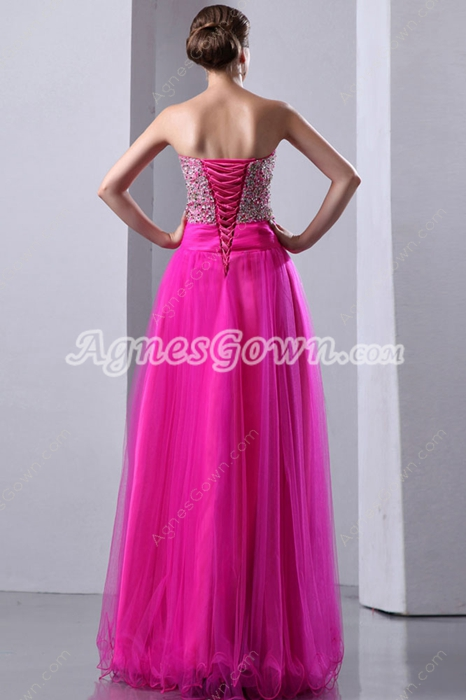 Extraordinary Fuchsia Sweet Sixteen Dress With Sparkled Bodice