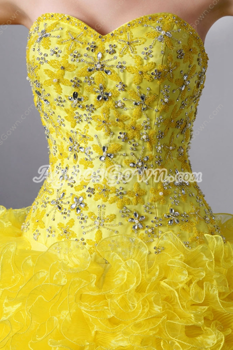 2016 Pretty Daffodil Yellow Ball Gown Quince Dress