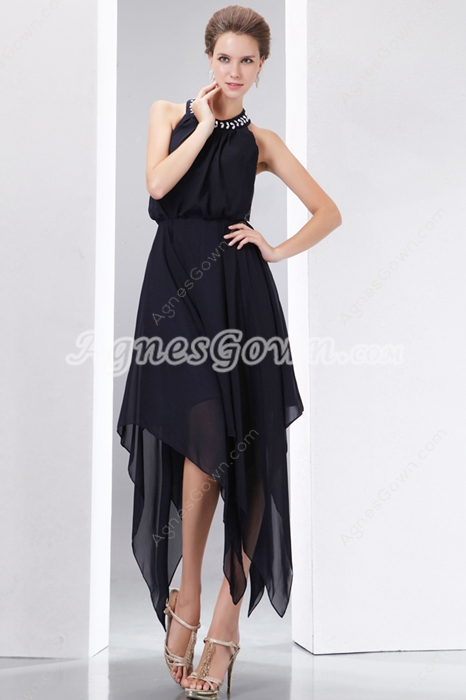 Halter High Low Black Junior Prom Dresses