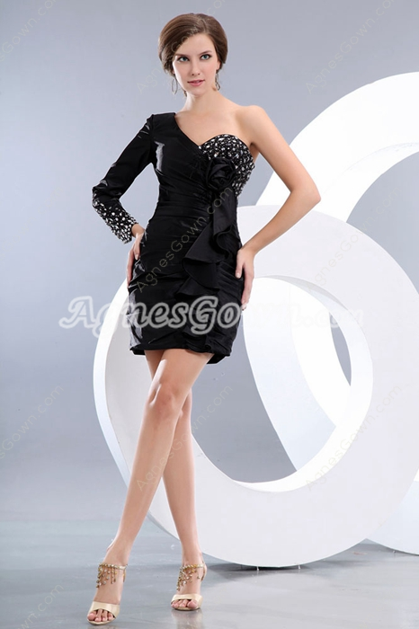 One Shoulder Long Sleeves Mini Length Black Club Dress