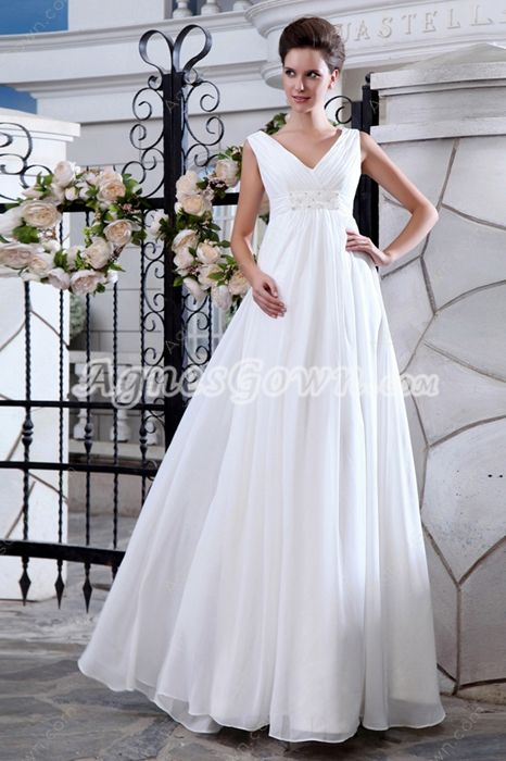 V-Neckline Maternity Wedding Dress