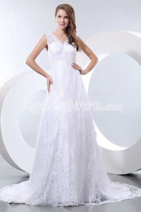 Grecian Maternity Lace Wedding Dress