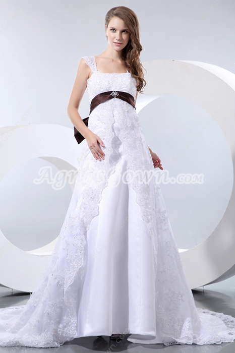 Empire Waist Straps Maternity Lace Wedding Dress With Brown Sash